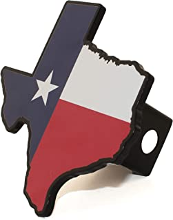 AMG Auto Emblems Premium State of Texas Flag (Texas Shaped) SOLID METAL Heavy Duty Hitch Cover