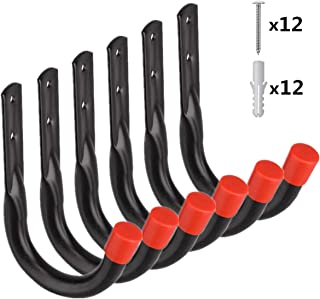 Heavy Duty Utility Garage Storage Hooks,Universal Wall Mount J Organizer Hangers for Hoses,Garden Tools,Cords,Cables,Toy Bag (6 Pcs Black 4.1