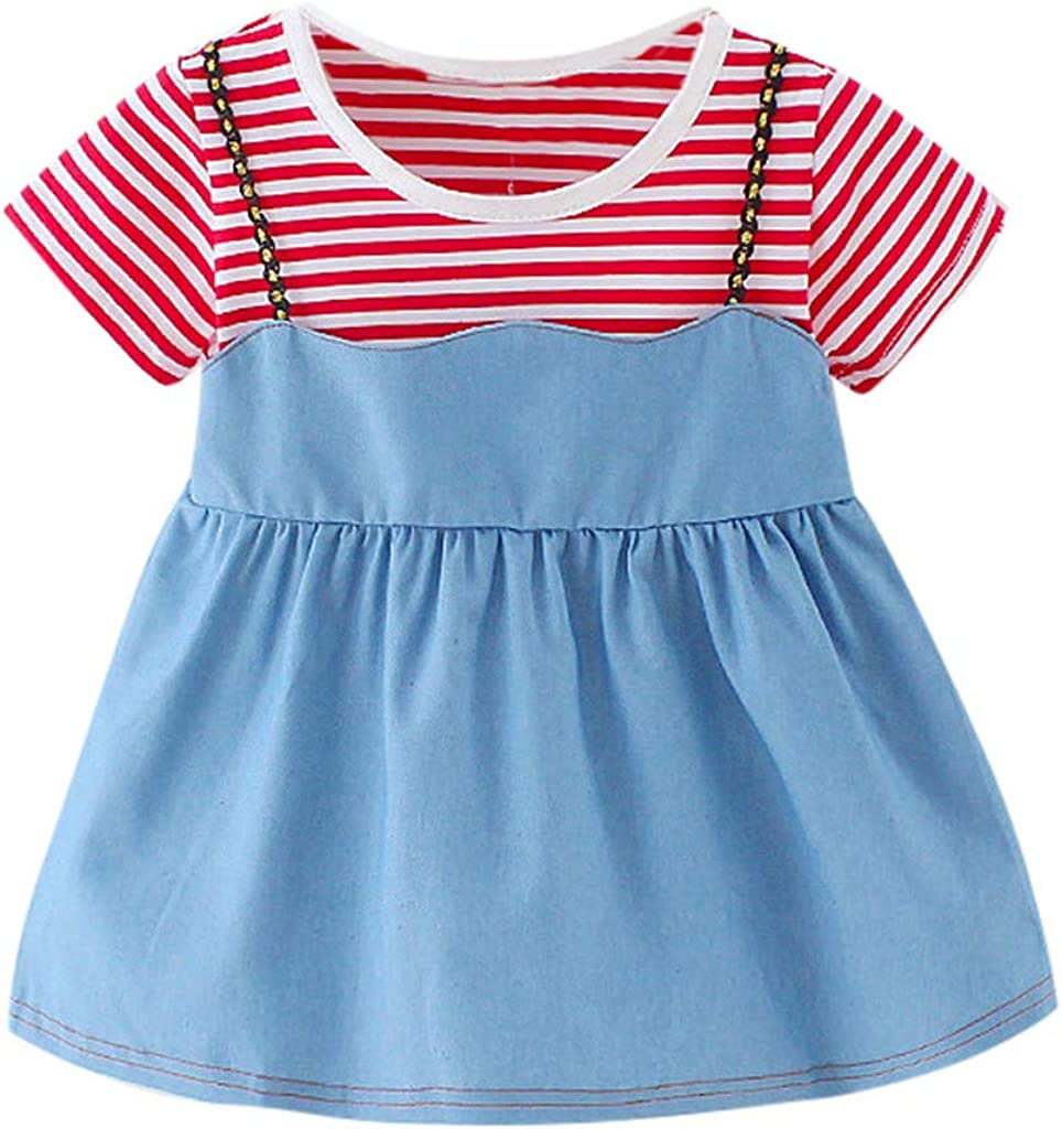 Lurryly Toddler Kid Baby Girl Striped Printed Denim Party Casual Princess Dress Clothing