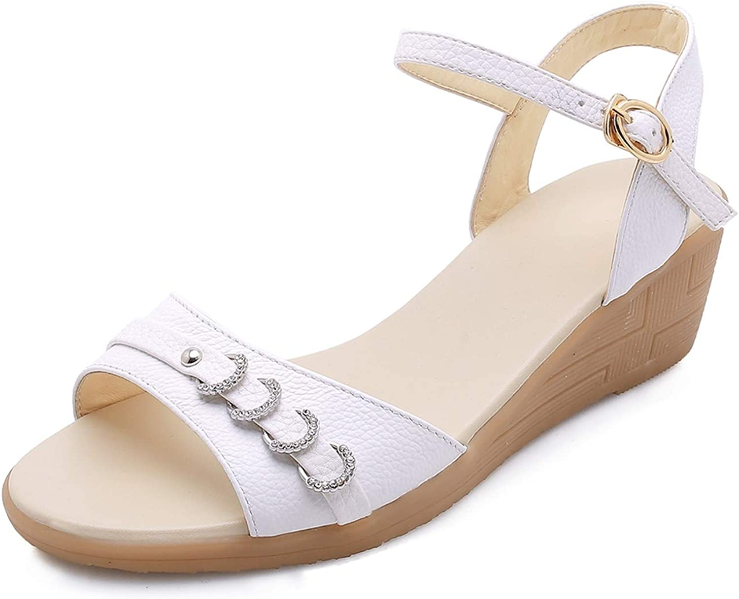Women Sandals Cow Leather Wedge Middle Heel Metal Decoration Buckle,