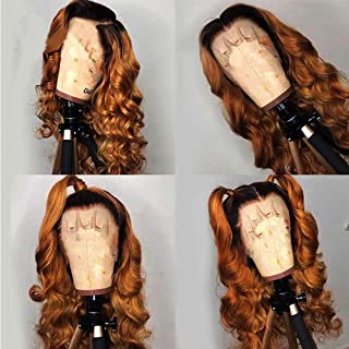 Andrai Hair Dark Root Ombre Brown Color Two Tone Lace Front Synthetic Wigs Body Wave Heat Resistant Hair Pre Plucked Wig with Baby Hair Bleached Knots for Women 24
