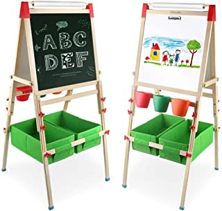 comprar comparacion Arkmiido 4en1 Madera Caballete de para Niños, Altura Ajustable, con rollo de papel y caja de almacenamiento