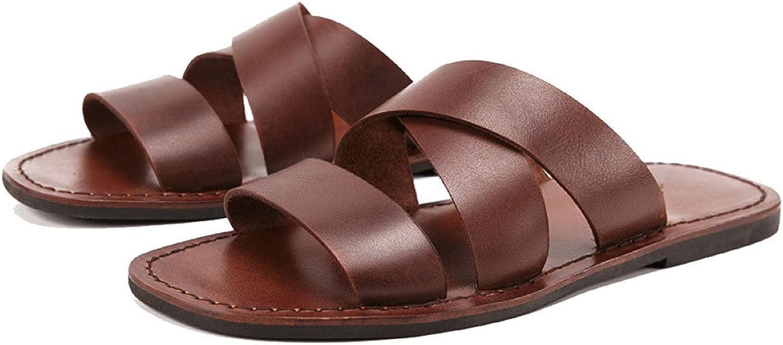 NIUWJ Mnner Sommer Leder Hausschuhe Mode Strand Handmade Slip Freizeit Sandalen