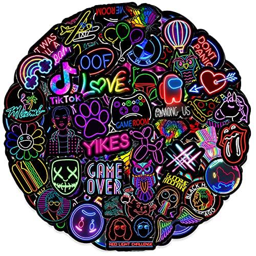 Ausikou Paquete de Pegatinas 50Pcs, Impermeable Neon Pegatinas Moto Graffiti Stickers Vintage para Laptop, Coche, Casco Bicicleta, Maleta, Vinilos para Portátiles