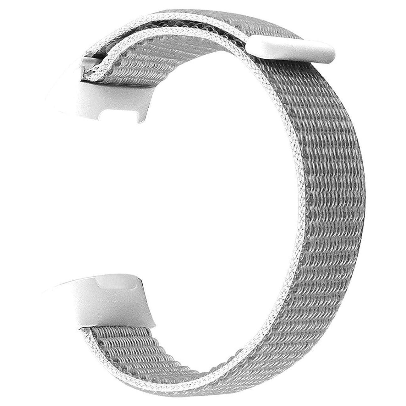 内陸補償強います4Fires 腕時計バンド スマート腕時計アクセサリー, Fitbit Charge 3の交換用ソフトナイロンスポーツループリストバンドストラップ(L)