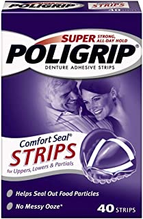 Super Poligrip Strips Size 40 Ct Poligrip Strong All Day Comfort Seal Denture Adhesive Strips (Value Pack of 10)
