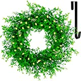 """Juegoal 20"""" Pre-lit Green Leaves Wreath with Metal Hanger, Artificial Eucalyptus Boxwood Wreath with Flowers, Timer & Battery Operated with Warm White 40 LEDs Lights for Front Door Welcome Wall Decor"""