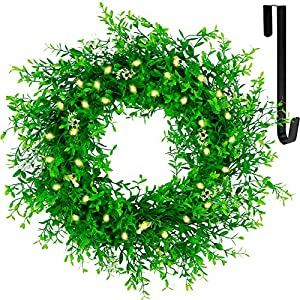 """Silk Flower Arrangements Juegoal 20"""" Pre-lit Green Leaves Wreath with Metal Hanger, Artificial Eucalyptus Boxwood Wreath with Flowers, Timer & Battery Operated with Warm White 40 LEDs Lights for Front Door Welcome Wall Decor"""