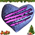 Tomus-UNI Mermaid Sequin Pillow with Insert, 13''×15'' Heart Magic Reversible Sequins Cushion for Home Décor