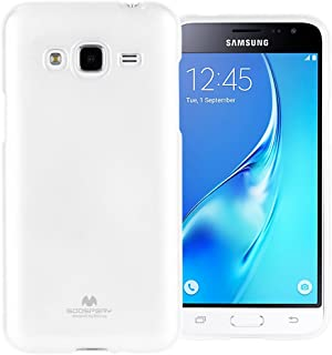 GOOSPERY Marlang Marlang Galaxy J3 (2016) / J3 V/Amp Prime Case - White, Free Screen Protector [Slim Fit] TPU Case [Flexible] Pearl Jelly [Protection] Bumper Cover, J32016-JEL/SP-WHT