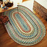 Super Area Rugs Gemstone Textured Braided Rug Indoor/Outdoor Rug Colorful Kitchen Carpet, Peridot 5' X 8'