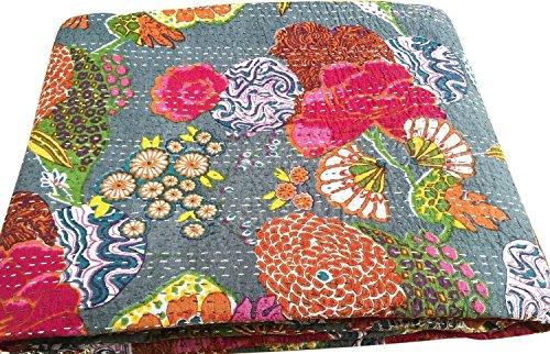 PUSHPACRAFTS Colcha de algodón con estampado floral de KANTHA gris (90 x 108) pulgadas de Gudari RALLI de algodón hecho a mano, multicolor