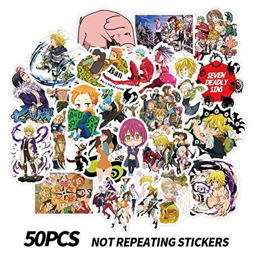 Chutoral 50 Stück Anime The Seven Deadly Sins PVC-Aufkleber, wasserfest, Vinyl-Aufkleber, kein Duplikat für Auto, Gepäck, Computer, Heimdekoration 50 Stück.