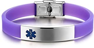 JF.JEWELRY Medical Alert Bracelet for Kids Silicone Band & Stainless Steel Tag Bangle-Black