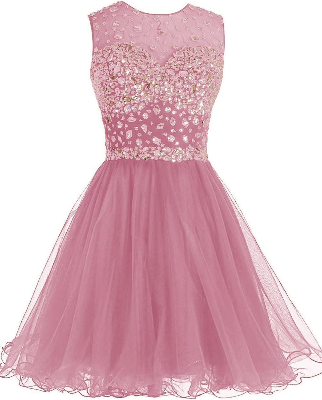 DianSheng Short Homecoming Dress Open Back Party Evening Dress with Crystals CK97