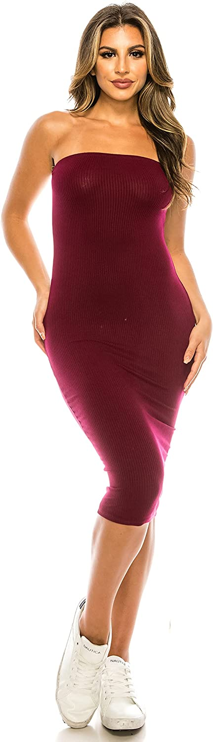 EDENNAOMI Women's Tube Top Dress – Strapless Casual Slim Fit Ribbed Knit Stretch Solid Sexy Bodycon Midi One Piece Dresses