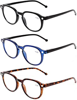 READING GLASSES 3 Pair Retro Round Spring Hinged Readers Great Value Quality Glasses for Reading