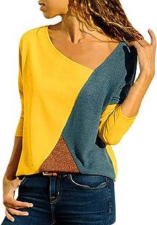 comprar comparacion Mujer Polyester Ajustado Blusa Moda Patchwork Casual para Mujer Color Block O-Neck Manga Larga Camiseta Tops Otoño e Invie...