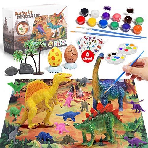 Lehoo Castle Creativi Gioco Dinosauri per Bambini 46 pezzi,Giochi Pittura Dinosauri,Dinosauro Figurina per Ses Creative,Giochi Creativi DIY per ragazzo ragazza,regali di dinosauro per bambini