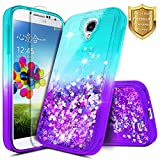Galaxy S4 Case with Tempered Glass Screen Protector for Girls Women Kids, NageBee Glitter Liquid Bling Floating Waterfall Diamond Shockproof Durable Cute Case for Samsung Galaxy S4 -Aqua/Purple