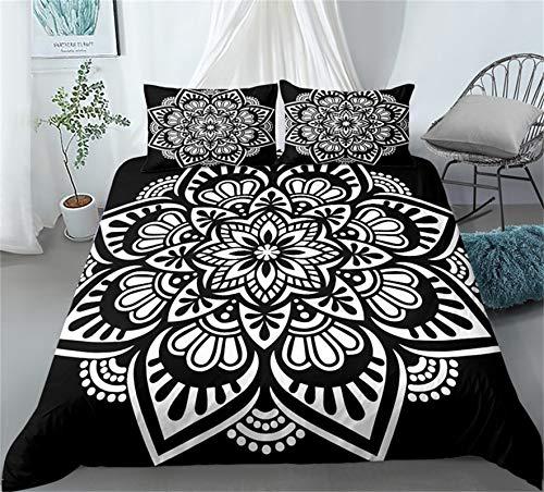 LXTOPN - Juego de cama étnico indio con funda de edredón y diseño de mandala floral exótico étnico, juego de cama para cama de 1/2 personas, de microfibra, 260 x 220 cm