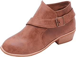 Womens Ankle Boots, Women Solid Buckle Strap Block Low Heel Shoes