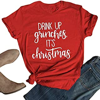 JMFXB Drink UP Grinches It's Christmas T Shirt Women Christmas Letter Print Funny Tee Short Sleeve Casual Shirt