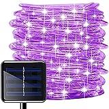 Oluote Luces de Cuerda Solar, Impermeable al Aire Libre 100 LED 33 FT/10 M 2 Modos, Luces de hadas, Tubo de Luz de PVC para La Fiesta de Boda del Arbol de la Cerca del Jardín (Púrpura, 10M)