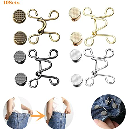 Perfect Fit Instant Button Replacement Jean Buttons 10 Pieces Adjustable Nail-Free Waist Buckles Extender Set Chrysanthemum Adjustable Buttons 10PCS No Sew Waist Buckle with Rivets