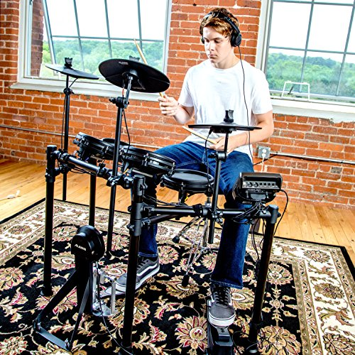 Alesis Drums Nitro Mesh Kit | Eight Piece All Mesh Electronic Drum Kit With Super Solid Aluminum Rack, 385 Sounds, 60 Play Along Tracks, Connection Cables, Drum Sticks