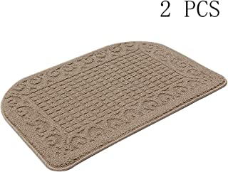 27X18 Inch Anti Fatigue Kitchen Rug Mats are Made of 100% Polypropylene Half Round Rug Cushion Specialized in Anti Slippery and Machine Washable,Beige(2 pcs)