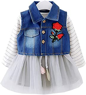 Fairy Baby Toddler Baby Girls 2pcs Long Sleeve Striped Tutu Mesh Dress+Denim Vest Set