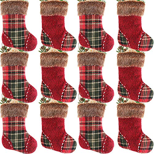 Partybus Mini Christmas Stockings, Rustic Plaid Plush Cuff Xmas Tree Decorations, Gift Treat Card Bags Silverware Holders for Kids Family Coworkers