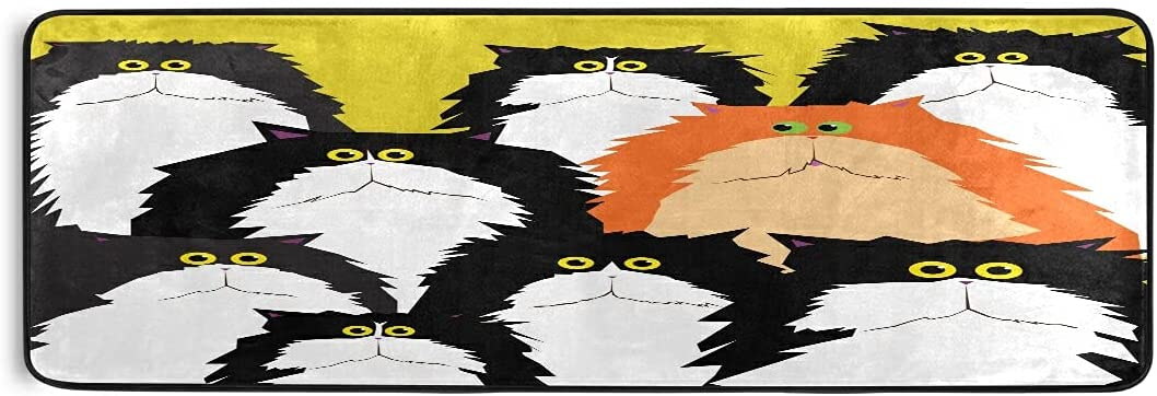 JUAMA Area Rug Black Cat with Green Floor Max 67% OFF Bath Clearance SALE Limited time Comfort Mat Eyes