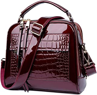 Lucien Hanna Women's Patent Leather Purses and Handbags Crossbody Satchels Shoulder Bags Tote Bag