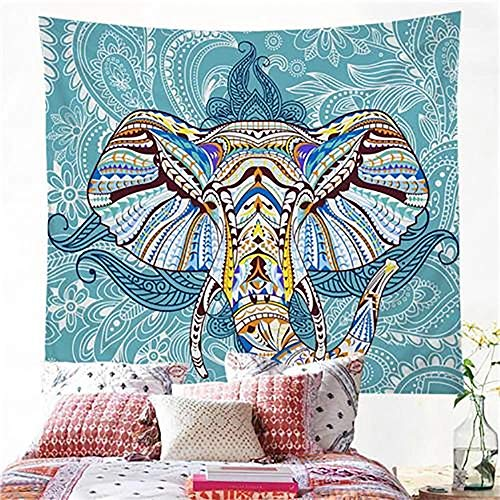 DPZDW Tapiz Pared Mandala Toalla Pareo Tapiz De Cabeza De Elefante Fondo Azul Mandala Cabeza De Elefante Apartamento Dormitorio Sala De Estar Decoración 150X130Cm