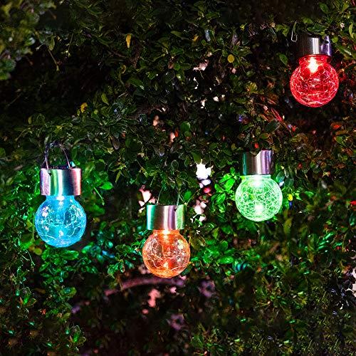 4 X Solarleuchten Hängeleuchten Solar Farbwechsel LED Hängeleuchte Garten, LED Solar Crackle Glaskugel Leuchten für Garten , Party, Weihnachtsbaumschmuck Light