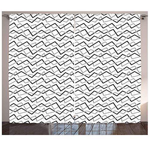 MUXIAND zwarte en grijze gordijnen schuine strepen lijn kunst ontwerp monochromatische decoratieve elementen voor woonkamer slaapkamer raam decoratie