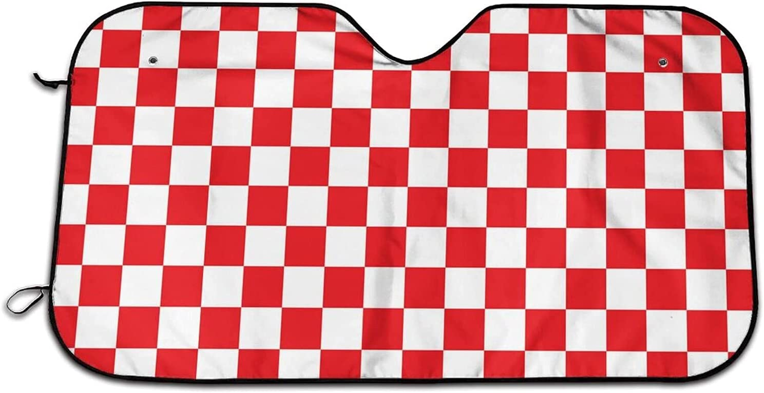 JDCreativity Red and Popular overseas White Checkered Cov Large discharge sale Windshield Car Sunshade