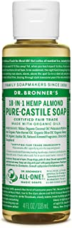 Dr. Bronner's - Pure-Castile Liquid Soap (Almond, 4 ounce) - Made with Organic Oils, 18-in-1 Uses: Face, Body, Hair, Laundry, Pets and Dishes, Concentrated, Vegan, Non-GMO