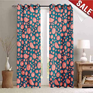 Hengshu Pale Pink Window Curtain Fabric Drops and Round Splash of Bubble Gum on Blue Background in Cartoon Style Drapes for Living Room W84 x L96 Inch Petrol Blue Coral
