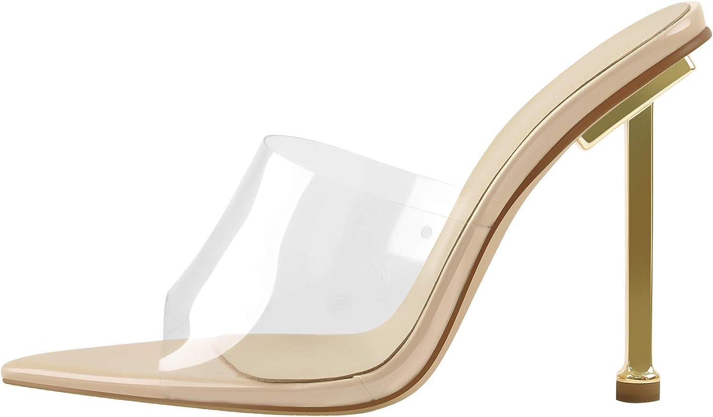 LISHAN Women's Clear PVC Slides Sandals