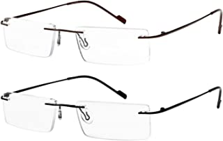 Reading Glasses 2 Pair Rimless Ultra Lightweight Readers for Men and Women
