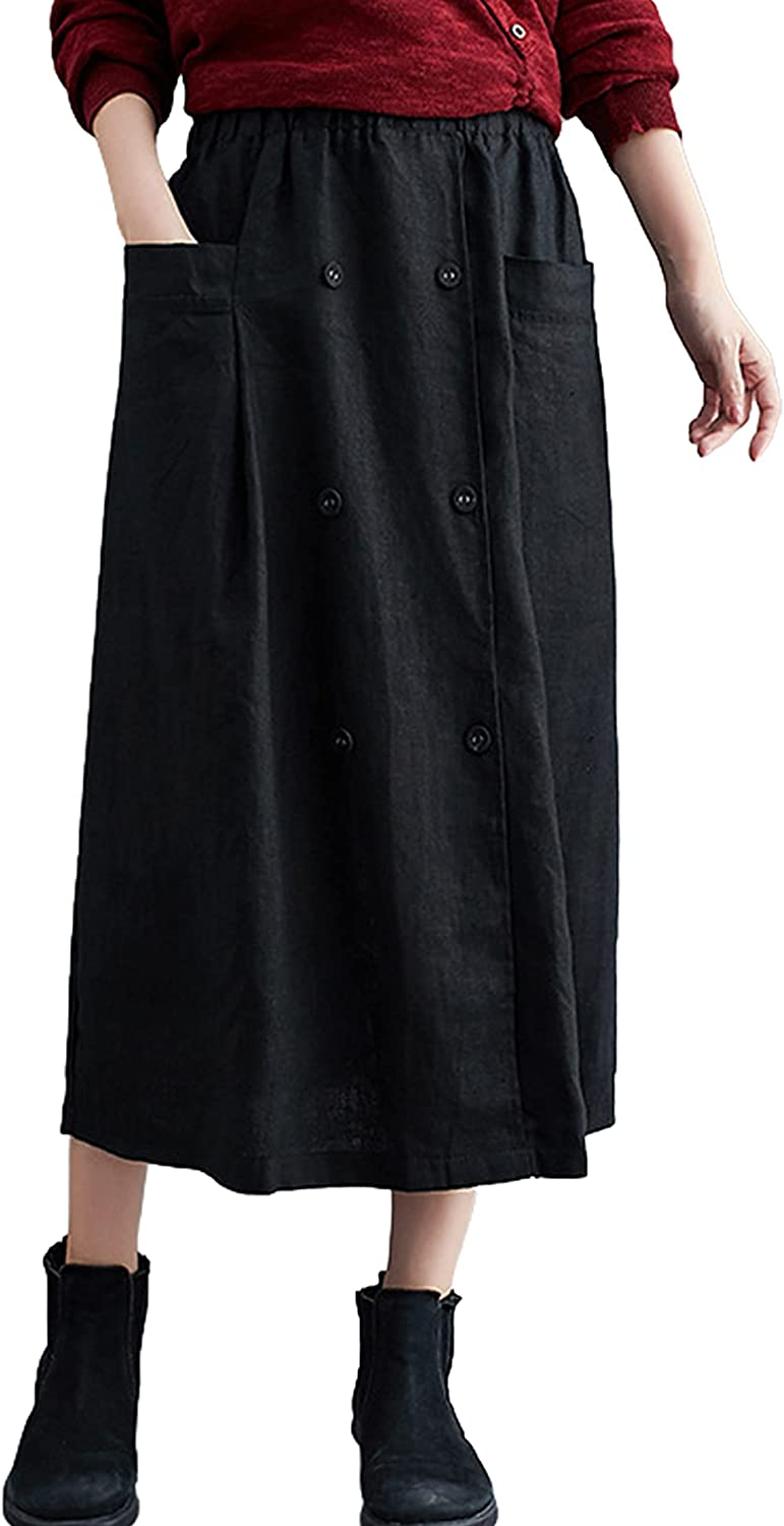 Yimoon Women's Casual Relaxed Cotton Linen High Waist Back Slit Flare Midi Skirts