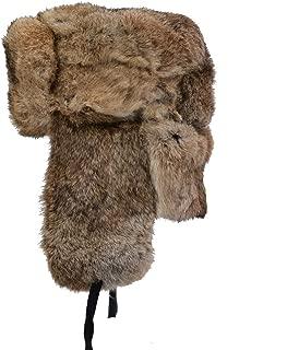 Mens Winter Real Rabbit Fur Aviator Hat Russian Ushanka Hats