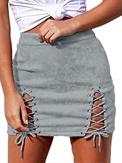 Women's Lace Up Suede Stretch High Waist Pockets Bandage Bodycon Mini Skirt