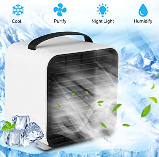 Vivibel Mini Ventilador Humidificador Purificador de Aire, Aire Acondicionado PortátilPequeño,Mini Enfriador Portátil USB,para el hogar, Oficina, Exterior, USB, Mini Enfriador de Aire Personal