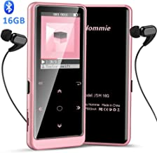 16GB Bluetooth MP3 Player with Touch Button, Hommie Portable HiFi Lossless Sound Music Player with Independent Volume Button, Support FM Radio Voice Recorder Expandable up to 128GB, Rose Gold