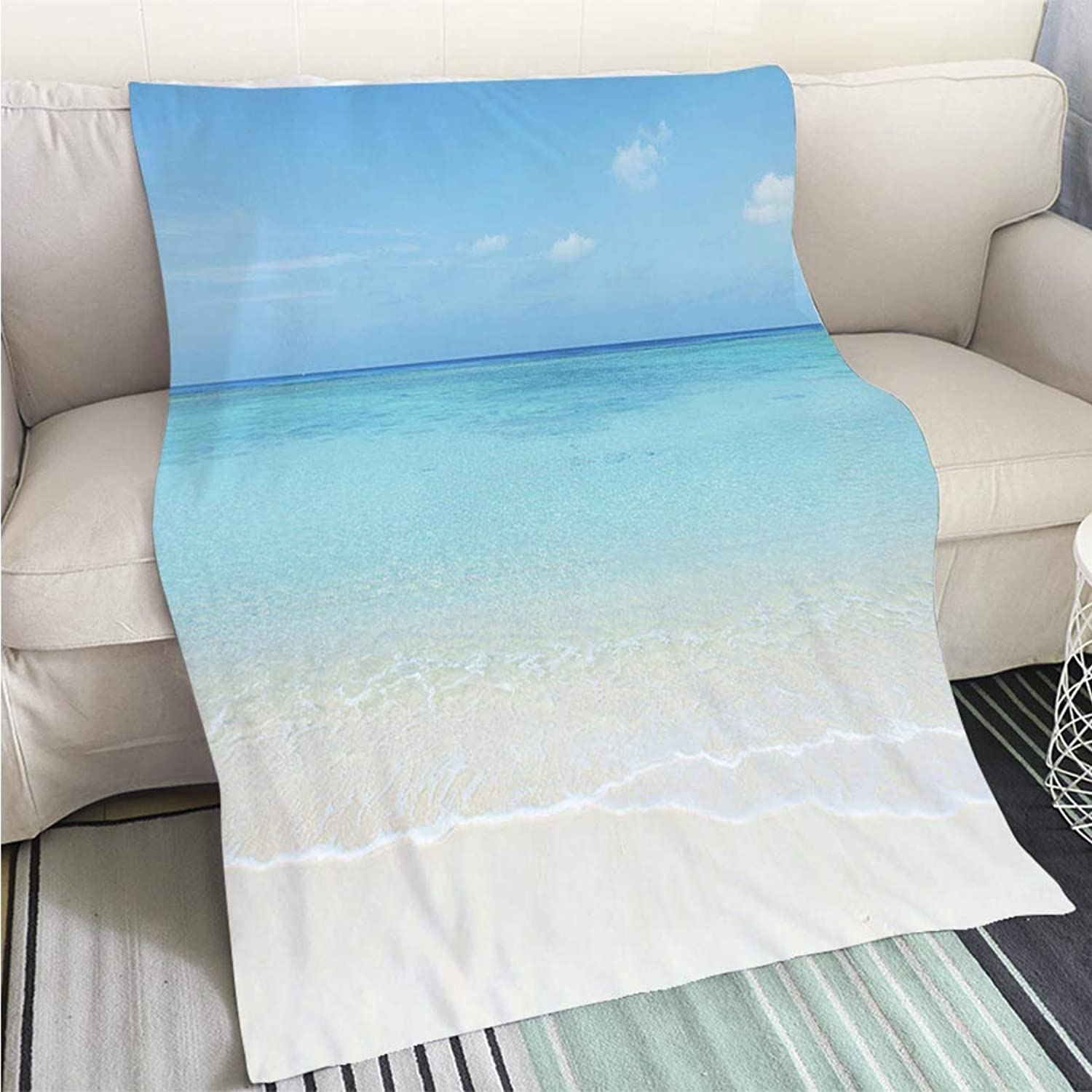 Luxury Super Soft Blanket Clean White Beach Perfect for Couch Sofa or Bed Cool Quilt