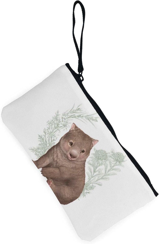AORRUAM Cute Wombat Canvas Coin Purse,Canvas Zipper Pencil Cases,Canvas Change Purse Pouch Mini Wallet Coin Bag
